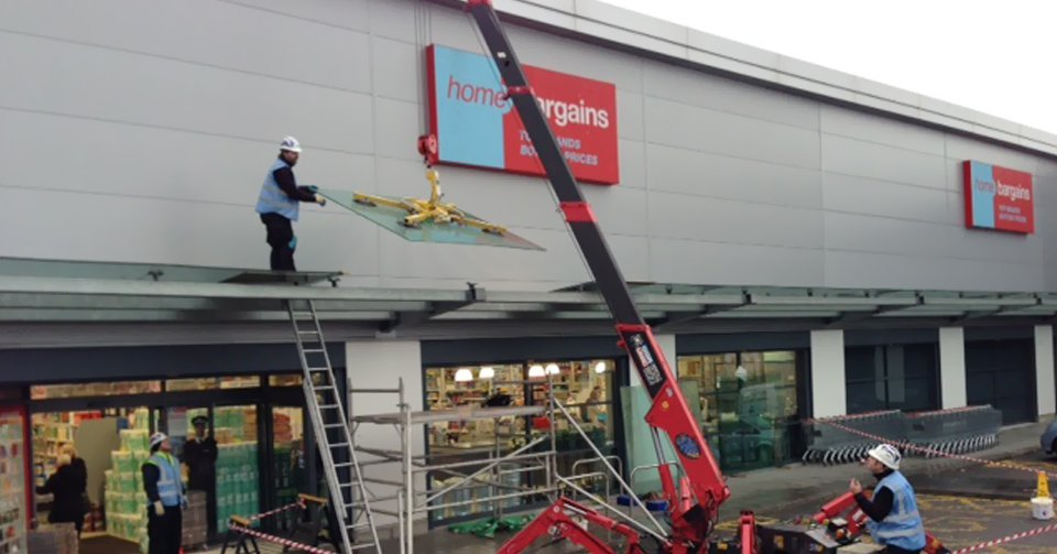 Installation of glass canopy