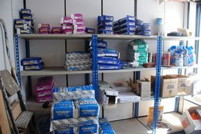 Image of our warehouse containing our range of adhesives