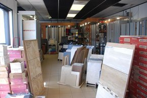 Inside image of our shop, showing the large selection of tiles available