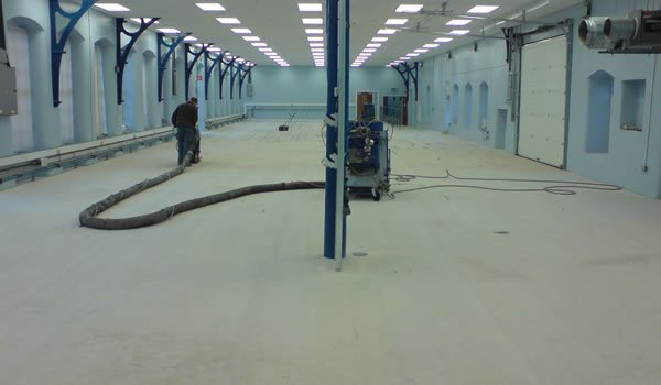 pumping epoxy compound prior to levelling