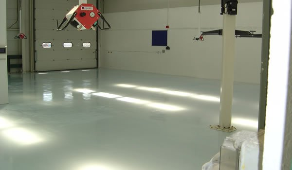workspace with epoxy floor