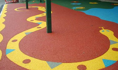 rubber floor play area with snake design