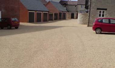 resin bonded car parking outside private garaging