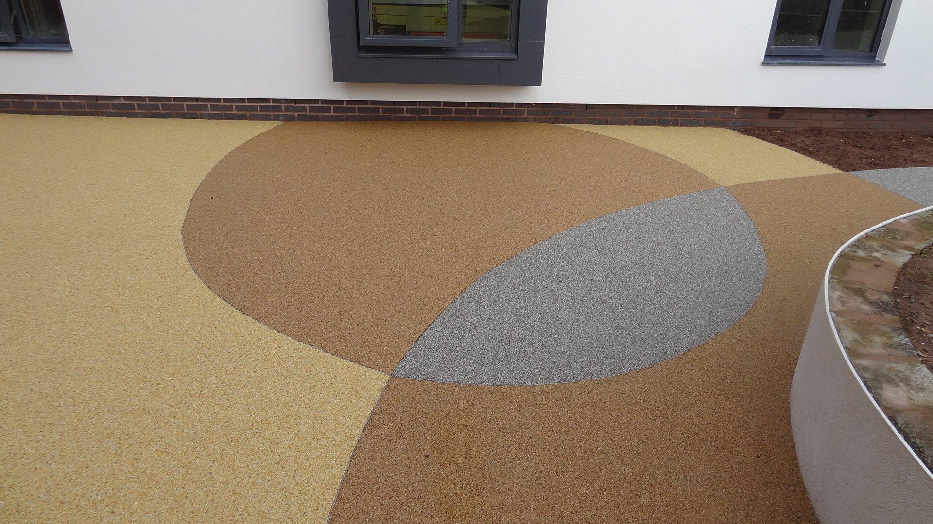 multi coloured resin bonded paving