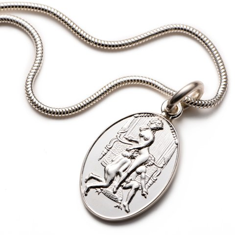 Eugenie Sterling Silver Oval Pendant & Chain erotic jewellery
