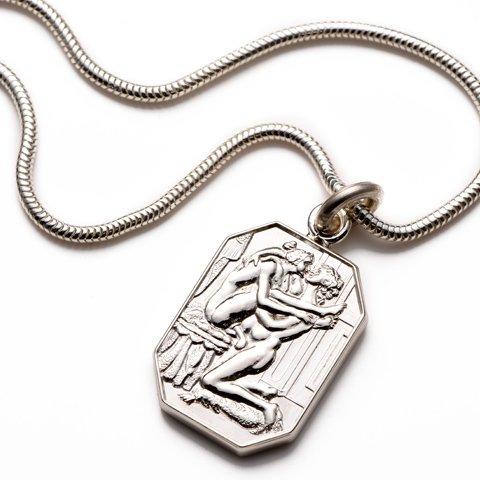Justine Sterling Silver Cut Corner Pendant & Chain erotic jewellery