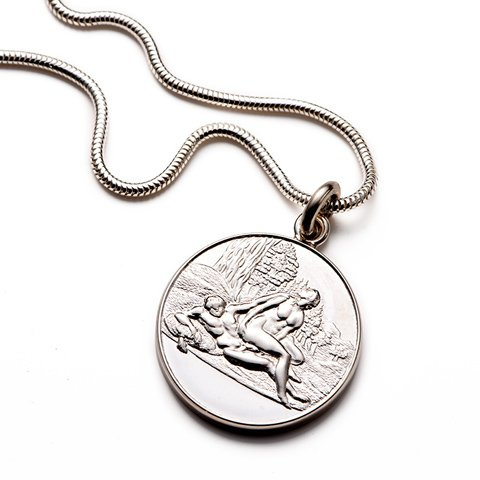 Angelique Sterling Silver Round Pendant & Chain  erotic jewellery