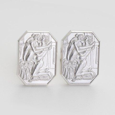 Alphonse Sterling Silver Cut Corner Cufflinks erotic jewellery