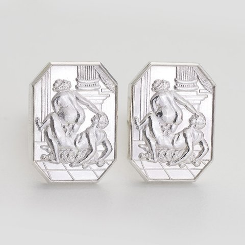 Francois Sterling Silver Cut Corner Cufflinks erotic jewellery