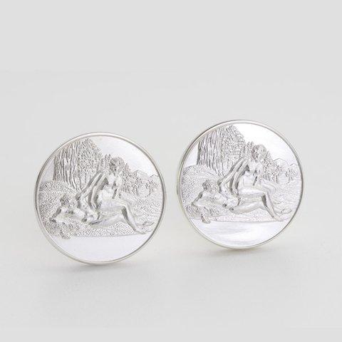 Medor Sterling Silver Round Cufflinks erotic jewellery