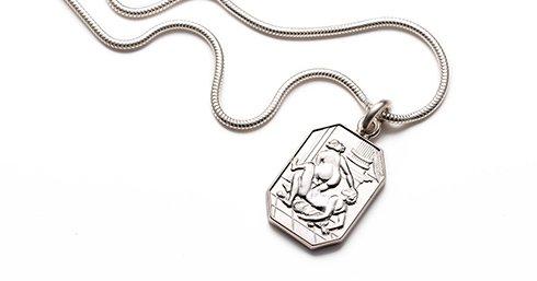 Juliette Sterling Silver Cut Corner Pendant & Chain erotic jewellery