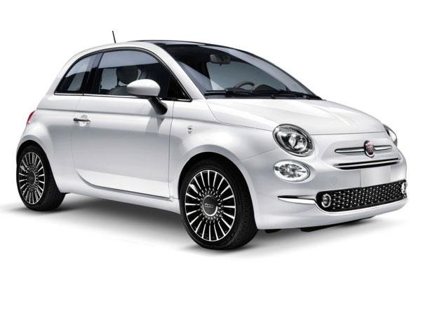 vista laterale di una macchina bianca marchio Fiat