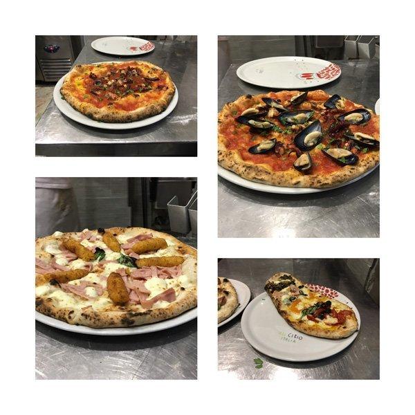 quattro foto di pizze a gusti diversi