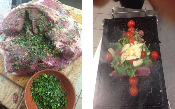 Carne cotta su pietra lavica