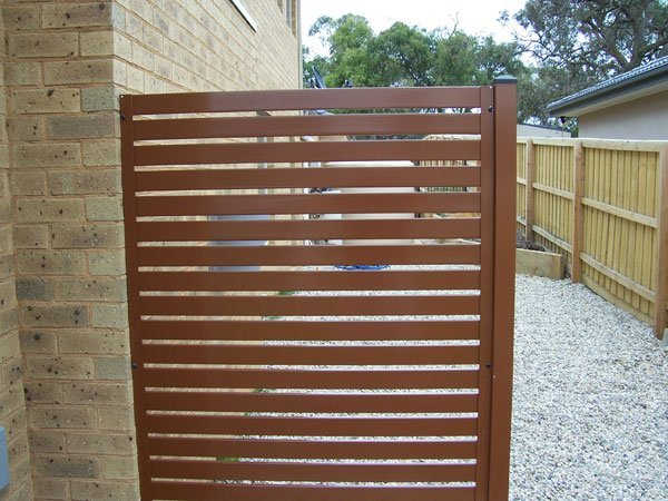 View of slat fencing gate