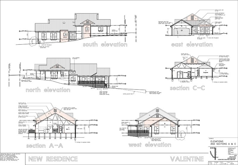 lindsay tapp contract drafting pty ltd split level residence elevation plan