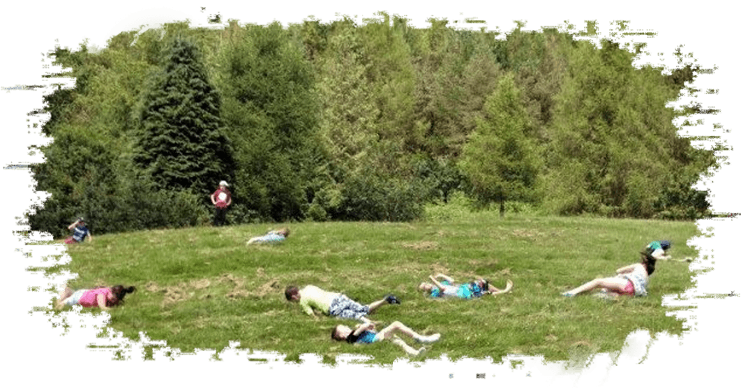 Children lying on the grass