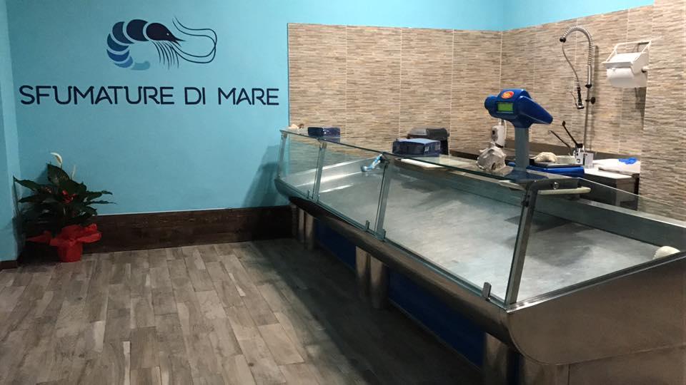 il bancone con la vetrina e di fronte un muro azzurro con scritto Sfumature Di Mare