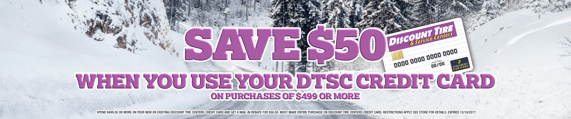 Save $50 When You Use Your Discount Tire Centers Credit Card