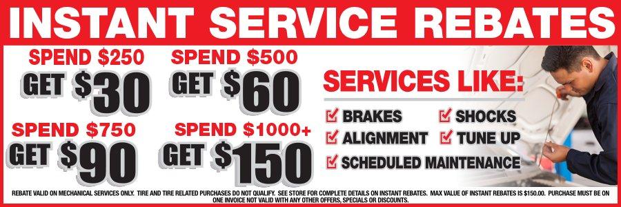 Instant Service Rebates