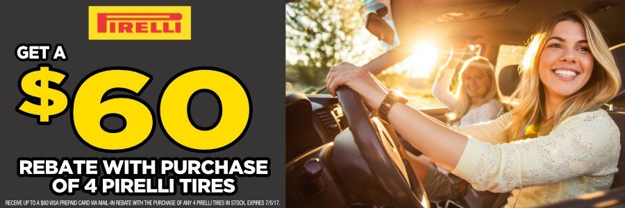 $60 Pirelli Rebate with purchase of 4 tires