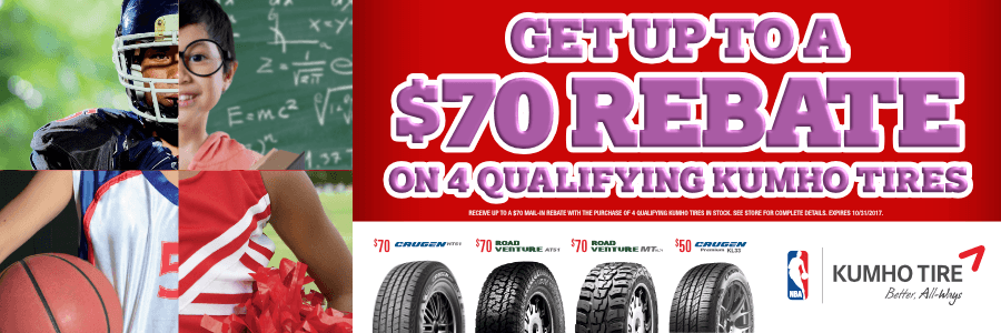 $70 Rebate on 4 Qualifying Kumho Tires at Discount Tire Centers