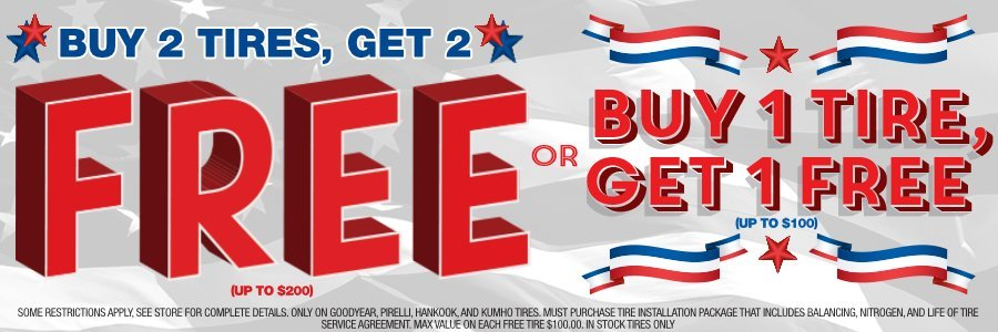 Buy 2 Tires Get 2 Free on Select Tires