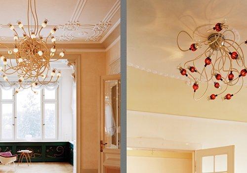 lampadari moderni con luci rosse e bianche