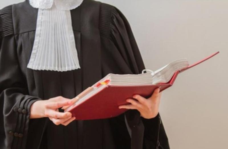 un giudice con una toga nera, un bavero e un libro in mano
