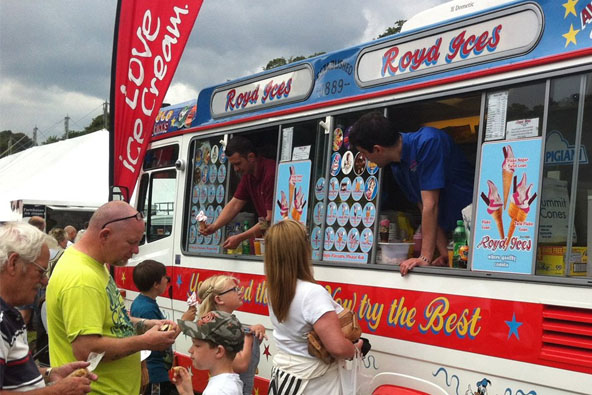 People getting ice cream from Royd Ices
