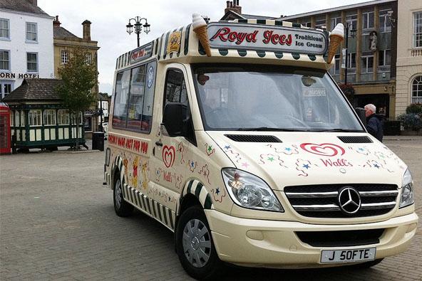 Decorated ice cream van