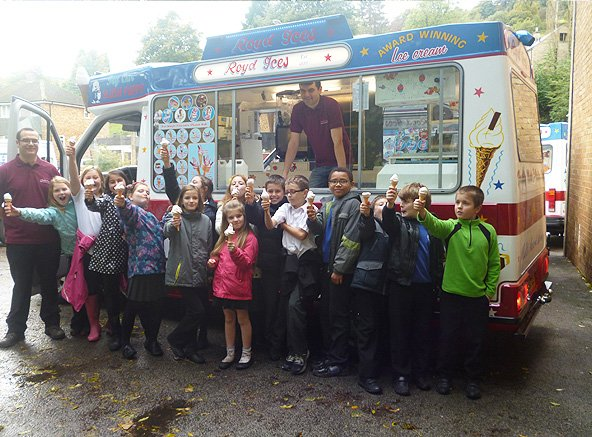 Group of happy children with ice cream from Royd Ices