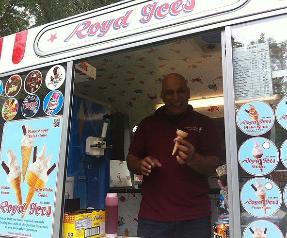 Happy employee holding an ice cream cone