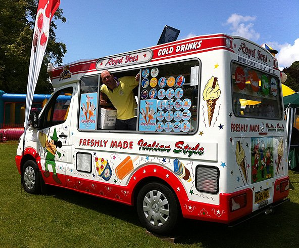 Parked ice cream van and happy member of staff