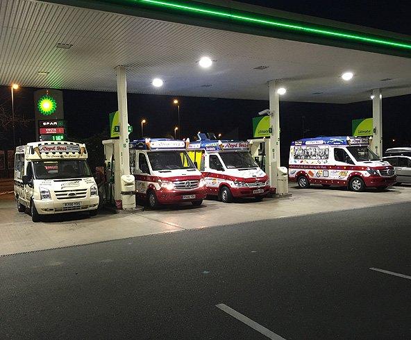 Fleet of Royd Ices' ice cream vans refueling