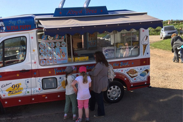 Mother and daughters buying ice cream from van