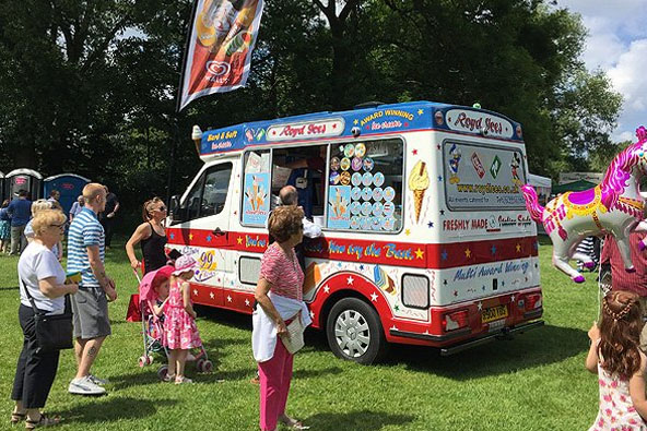 Parked ice cream van at an event