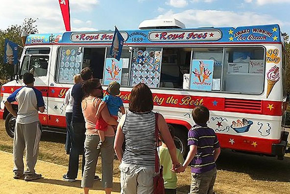 People deciding what ice cream to choose from the van