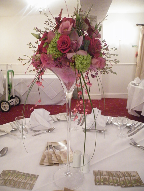 Martini glass table centres