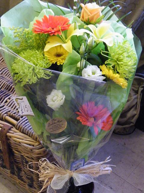 Flat bouquet mixed flowers