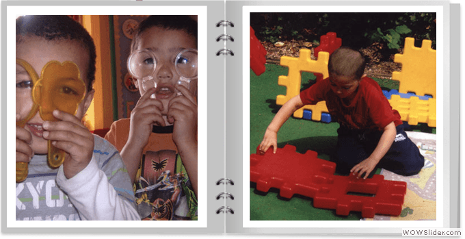 Two images of children playing