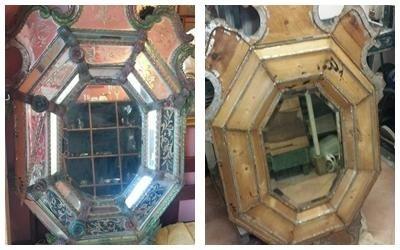 restauro specchio legno
