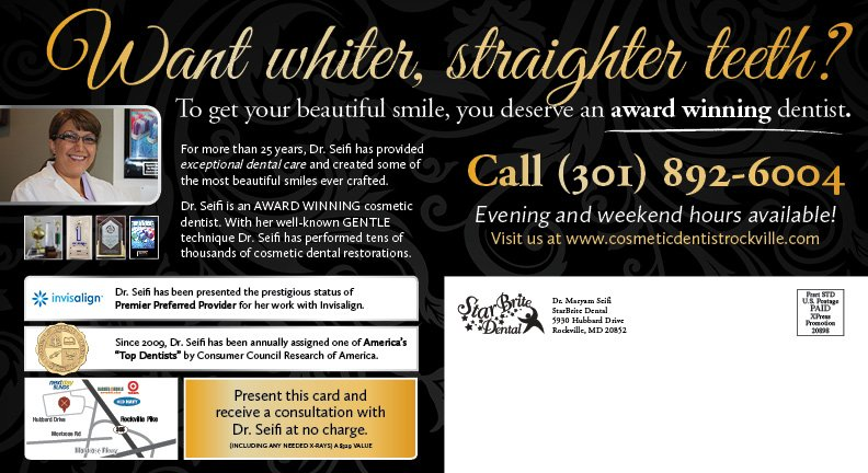 Back Side of StarBrite Dental Black and Silver Cosmetic Card