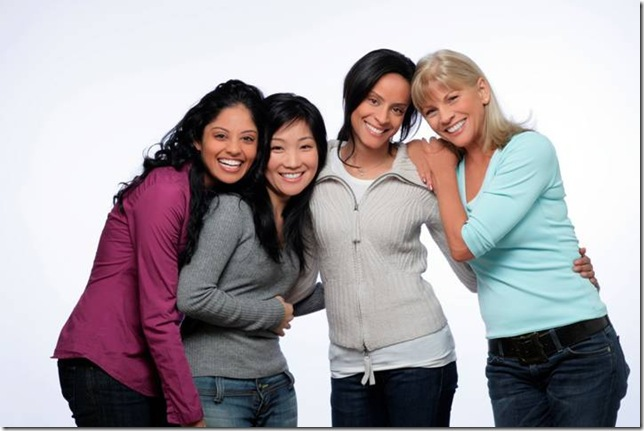 Group of Four Smiling Women