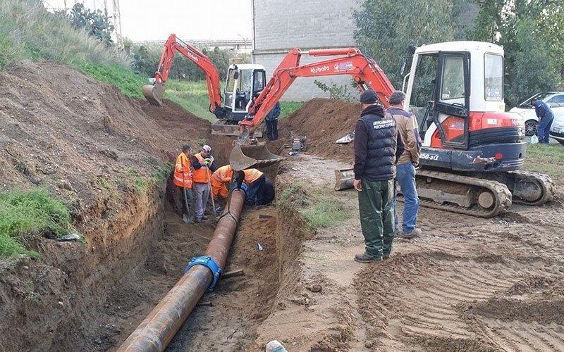 lavori su tubazioni per acqua reflue