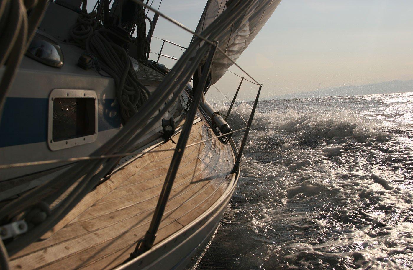 due barche a vela in acqua e in lontananza vista degli alberi