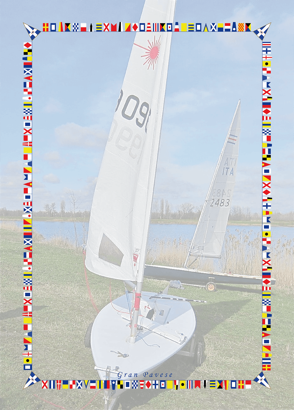 immagine di due barche a vela su dei carrelli e le bandiere di alcune nazioni che fungono da contorno della cornice