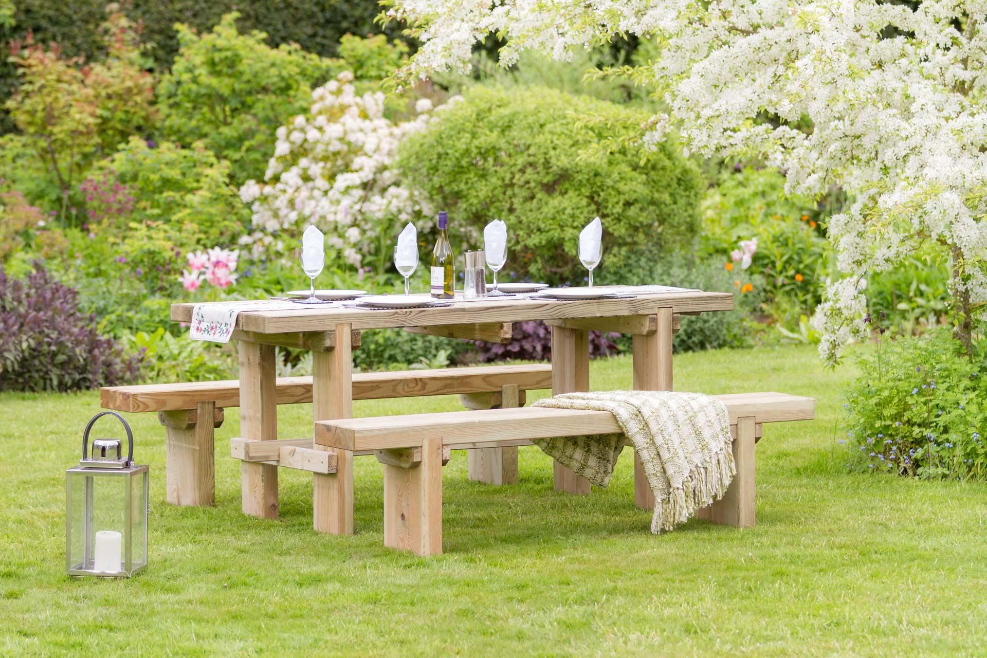 Rebecca table 2 bench set