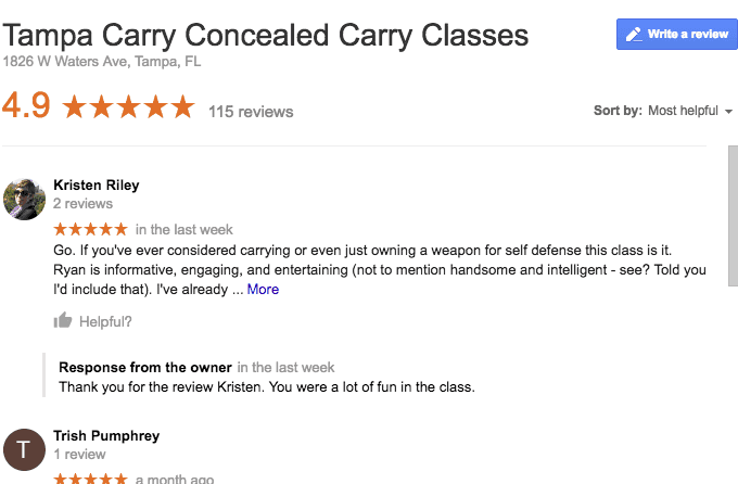 Tampa Carry Concealed Weapons Permit Classes student  reviews
