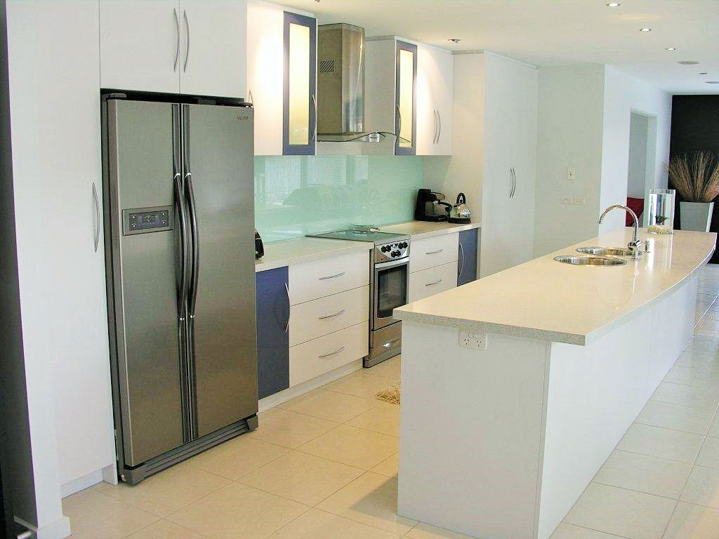 kitchen with blue elements